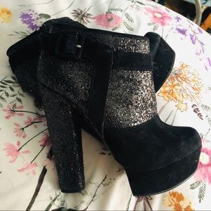 Topshop Glitter Ankle Booties